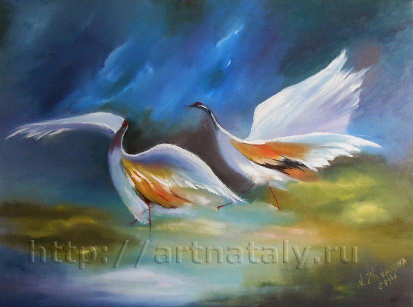 Картина маслом птицы Цапли