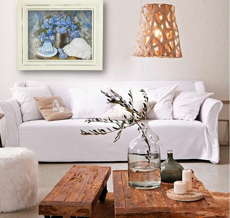 Цветочный натюрморт картина маслом полевые цветы в интерьере