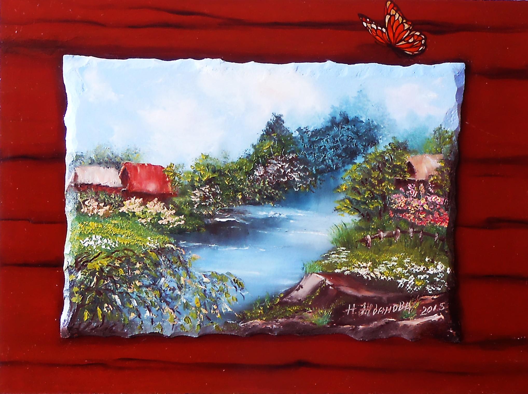 Деревенский пейзаж картина маслом Лето в деревне