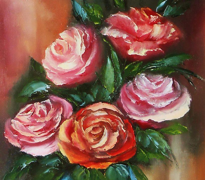 картины маслом мастихином цветы