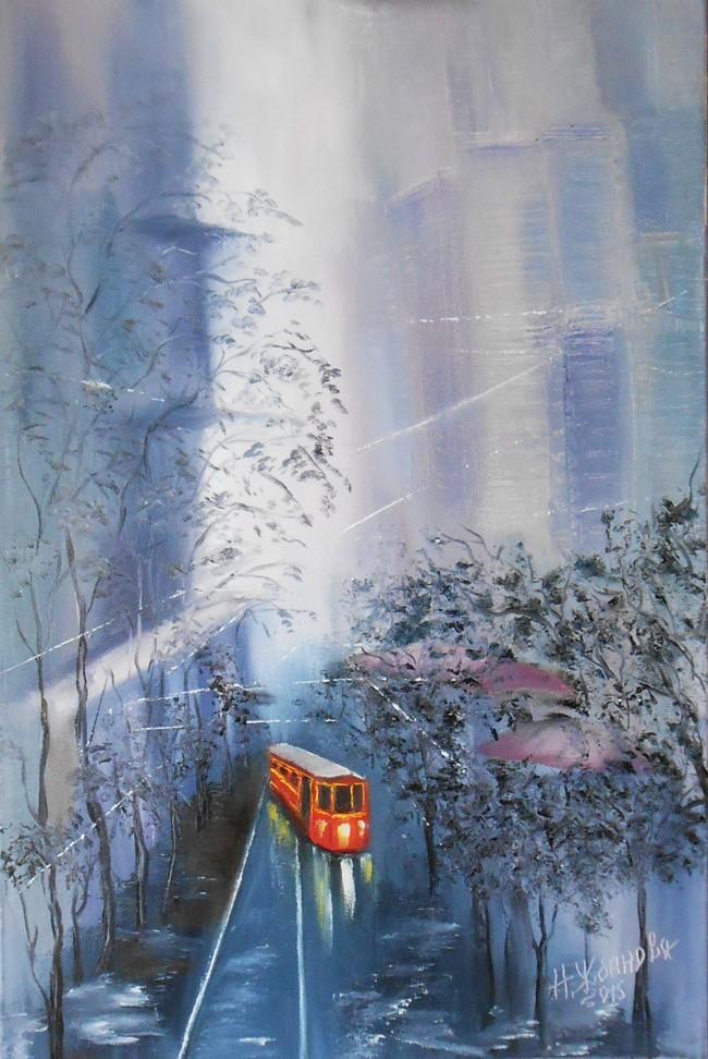 Современный городской пейзаж картина маслом живопись Трамвай желания