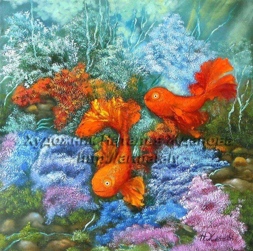 Картина золотые рыбки символ фен шуй любви талисман