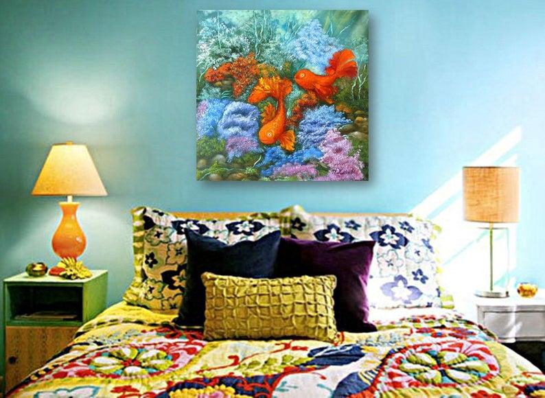 Картина золотые рыбки символ фен шуй любви талисман в интерьере