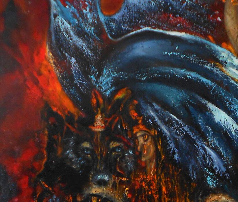 Тотемы картина маслом в стиле сюрреализм фрагмент волк