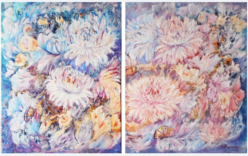 Модульная картина маслом цветы абстракция