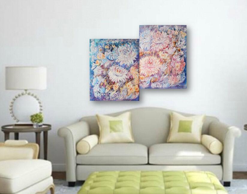 Модульные картины для интерьера Картина маслом цветы абстракция