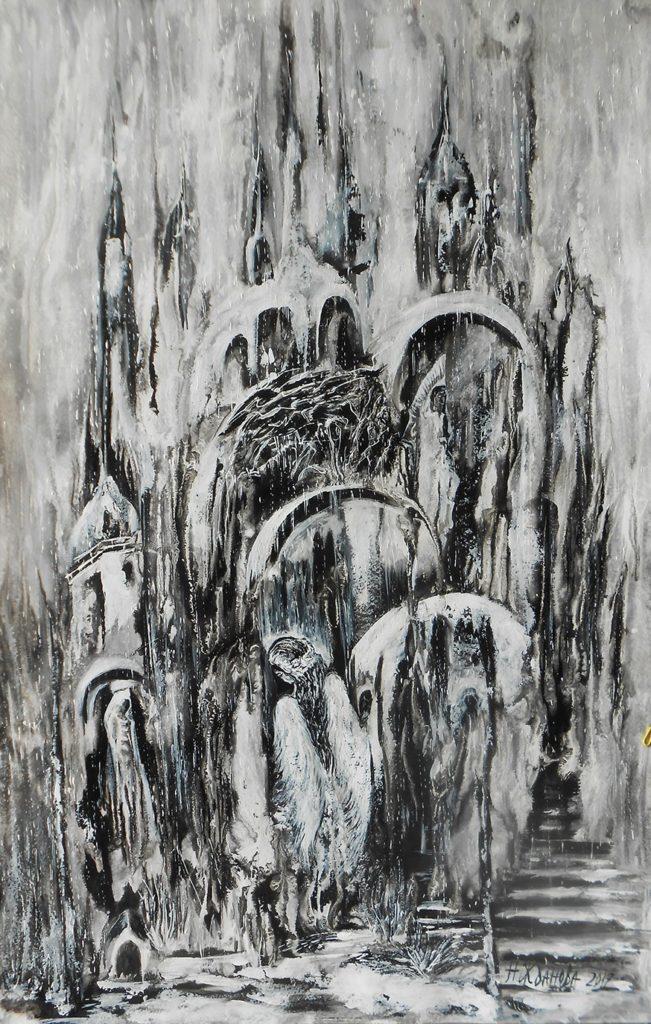 Абстрактная живопись интерьерная картина акрилом черно белая абстракция