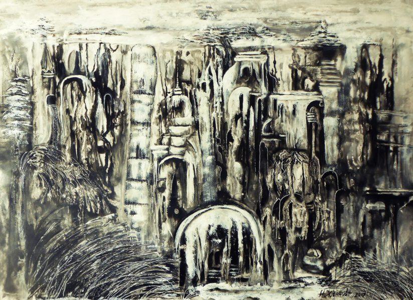 Город картина абстракция