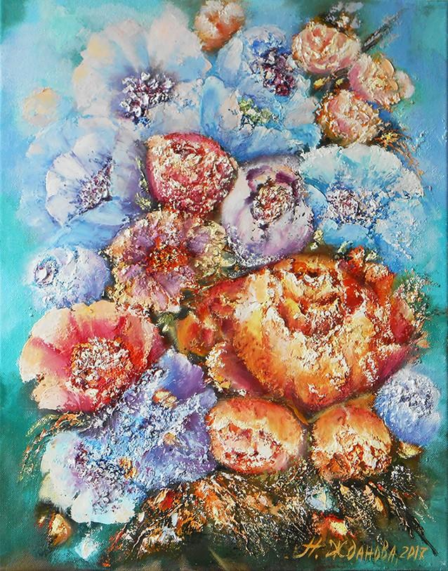 Картина маслом цветы на холсте Весеннее настроение