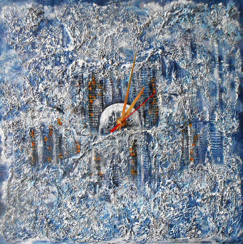 Настенные часы картина зимний пейзаж Городской блюз абстрактный стиль