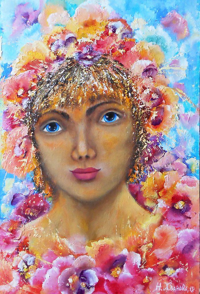 Картина маслом девушка с цветами Анютины глазки