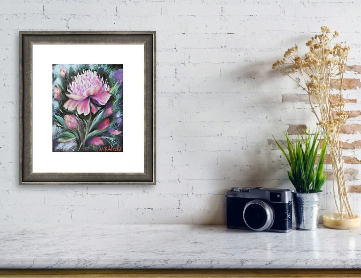 Интерьерная картина Пионы розовые цветы пастелью