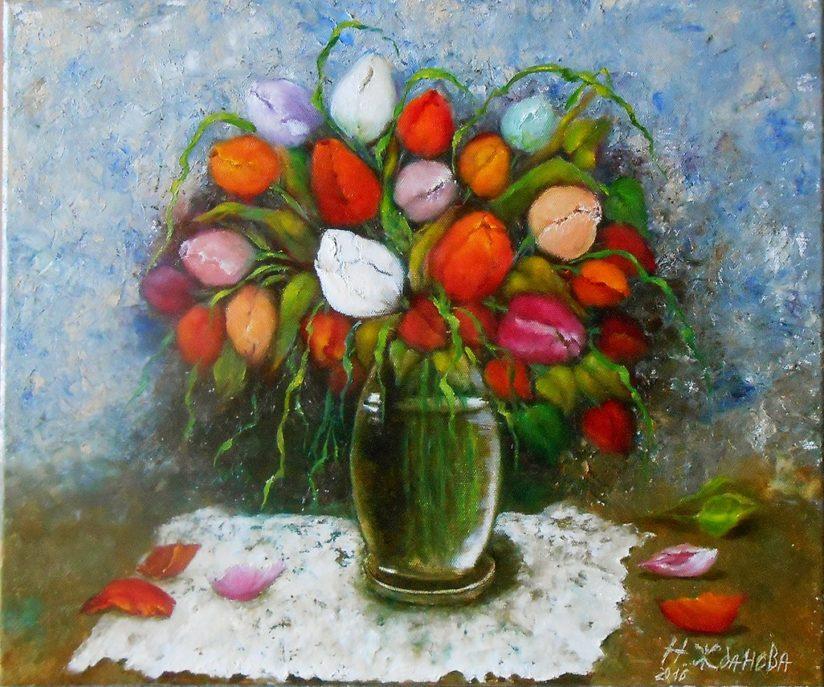 картина тюльпаны маслом