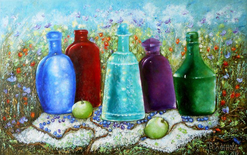 Картина натюрморт маслом с бутылками вина Пикник
