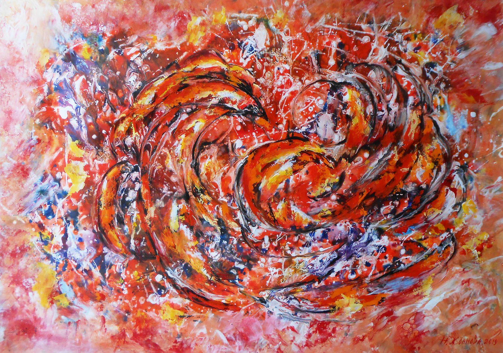 Абстрактная картина Жар птица, современная живопись абстракция птица Феникс