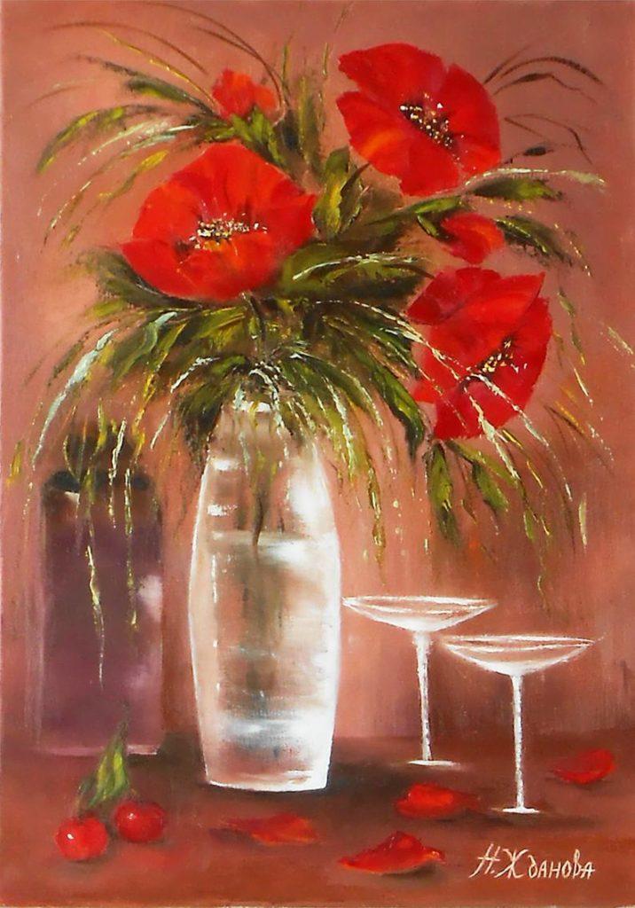 Цветы маслом картина с цветами Маки мастихином