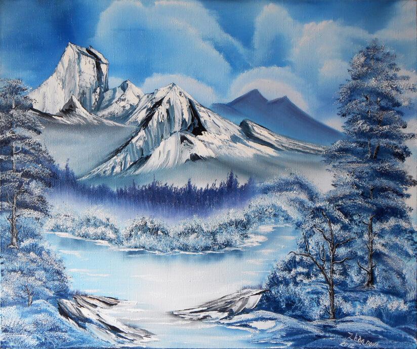 Картина горный пейзаж зима