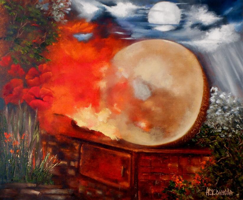 Картина маслом для интерьера в стиле сюрреализм Бубен шамана