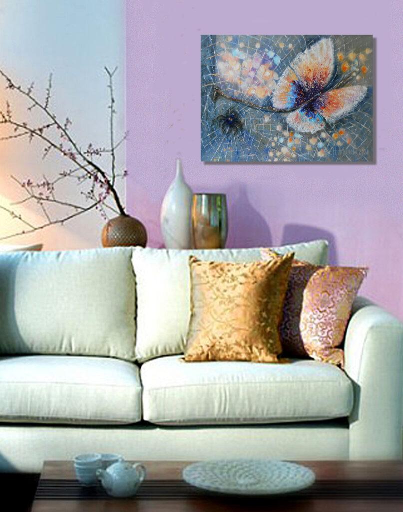Интерьерная картина бабочка фото в интерьере для примера
