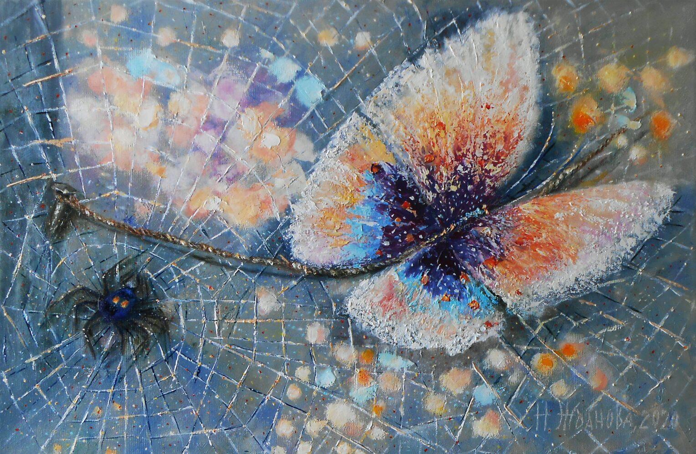Интерьерная картина бабочка маслом на холсте Красавица и чудовище