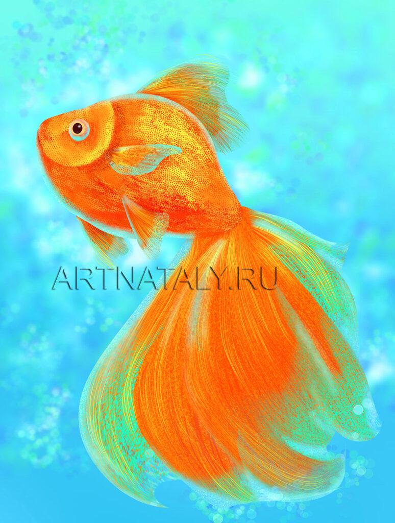 Цифровая живопись золотая рыбка фен шуй