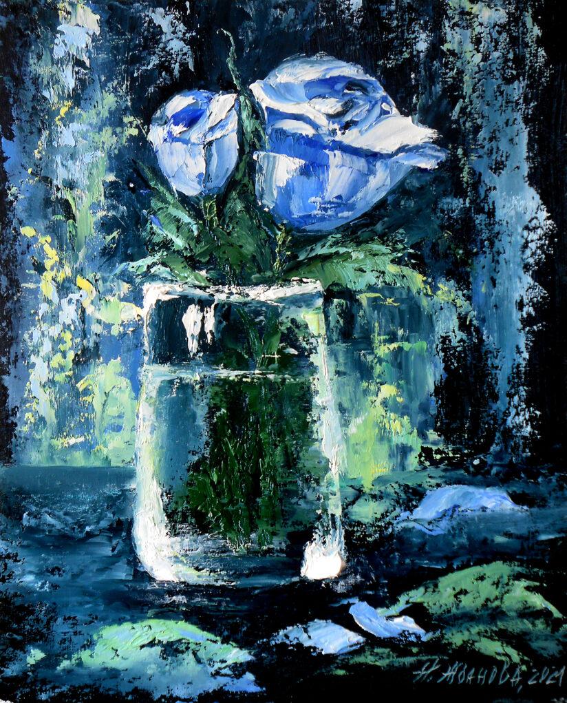 Голубая роза картина маслом для интерьера миниатюра