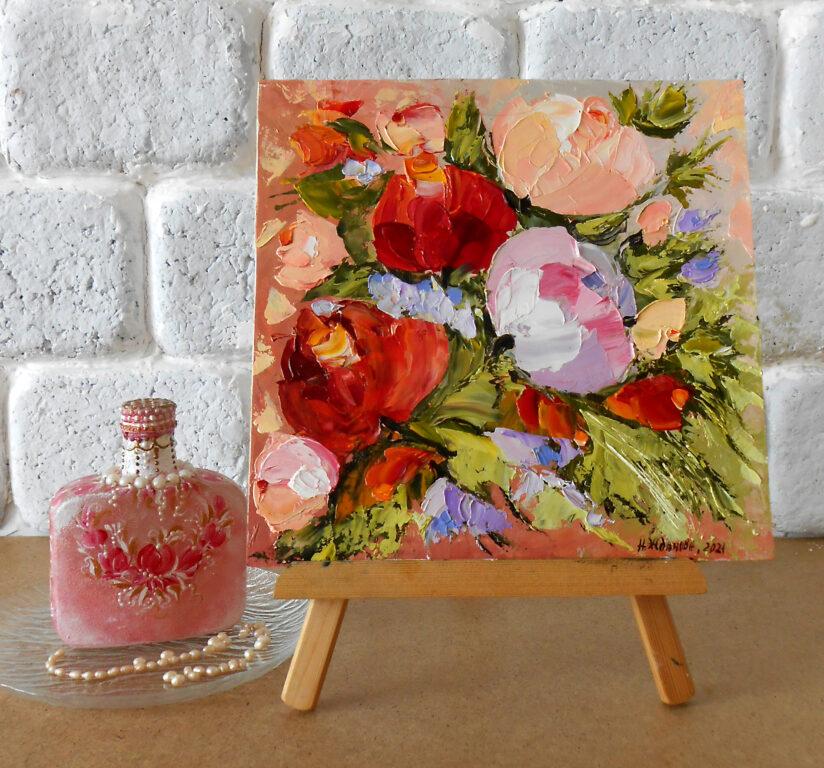 Маленькая картина цветов розы пионы маслом