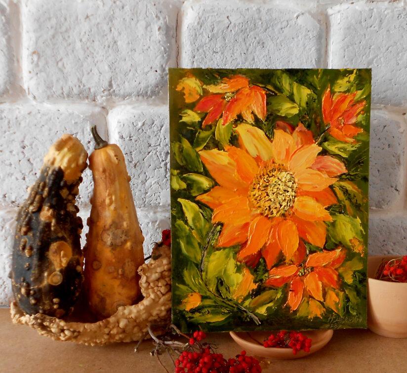 Интерьерная картина миниатюра маслом букет подсолнухов