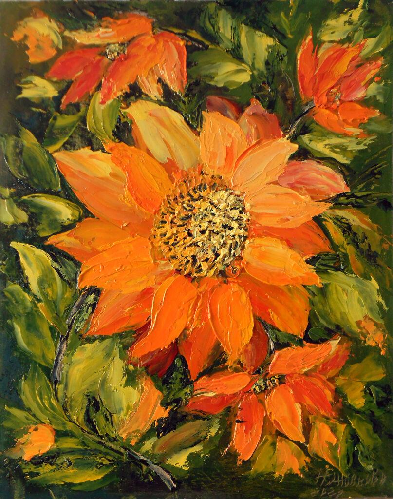 Kартины цветов Подсолнухи миниатюра маслом мастихином