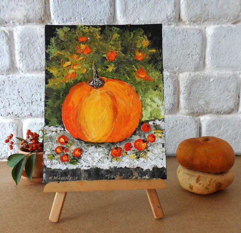 Осенний натюрморт тыквы маслом маленькая картина миниатюра для интерьера