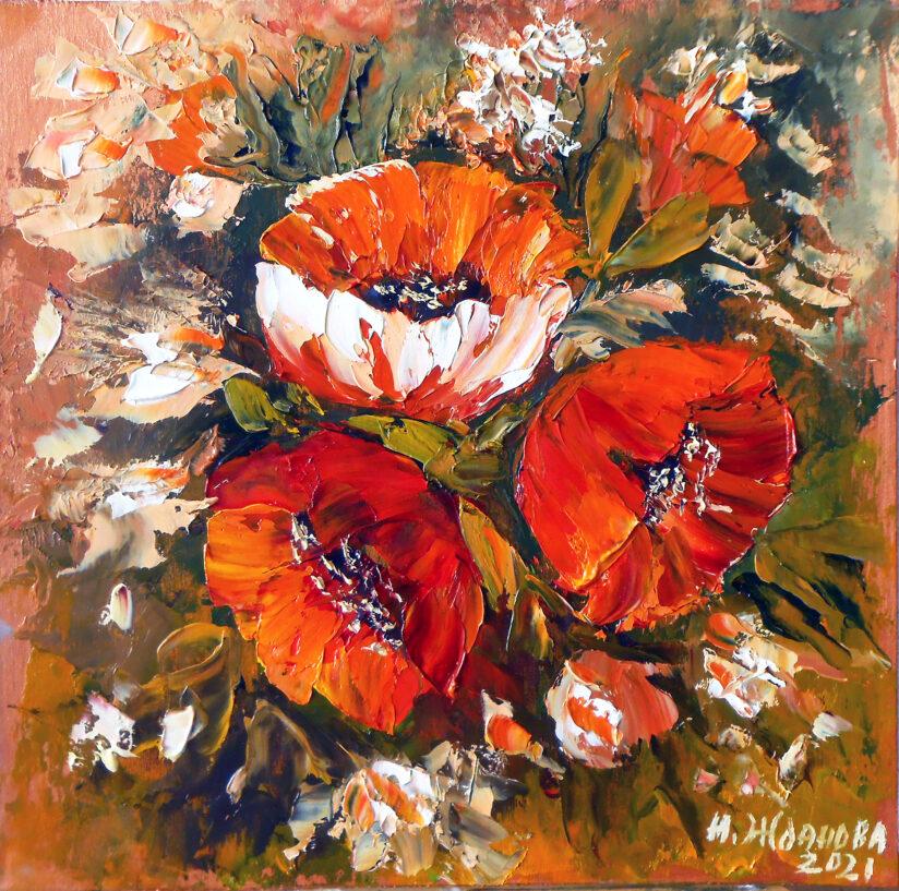 Картина миниатюра маков маслом натюрморт цветы мастихином