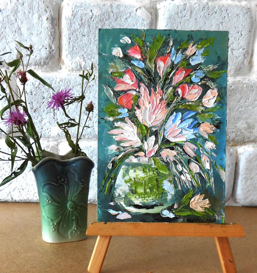 Натюрморт цветы маслом, Маленькая картина маслом полевые цветы в вазе