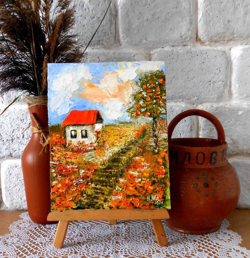 Картина летний пейзаж с домиками и маковое поле мастихином