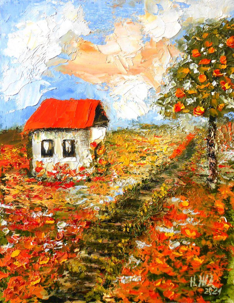 Картина летний пейзаж маслом с домиками