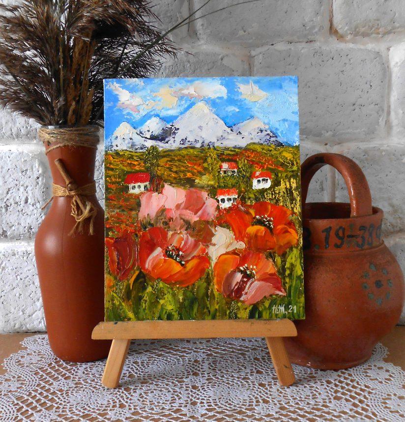 Летний мини пейзаж с маковым полем домиками мастихином