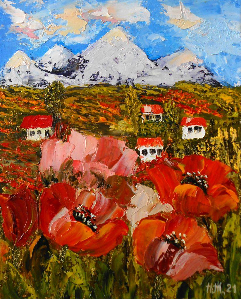 Картина маковое поле летний пейзаж с домиками