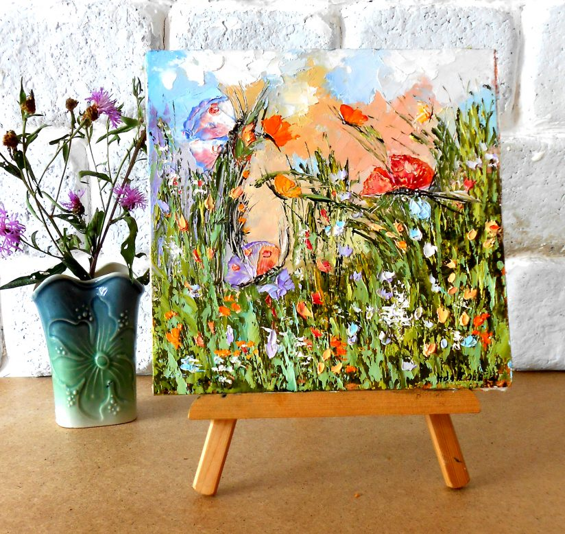 картины миниатюры полевые цветы бабочки
