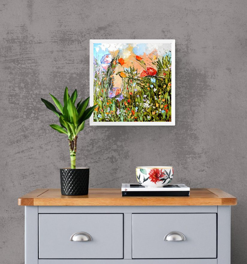 картины мастихином цветы полевые