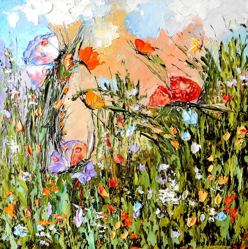 Mаленькая картина маслом полевые цветы