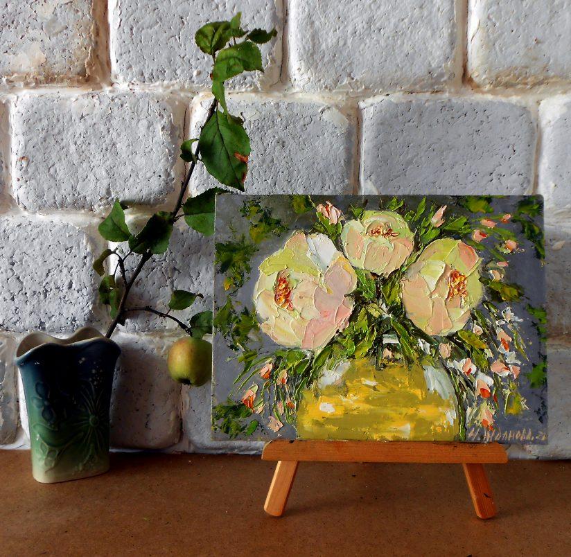 Пионы картина маслом мастихином абстрактные цветы