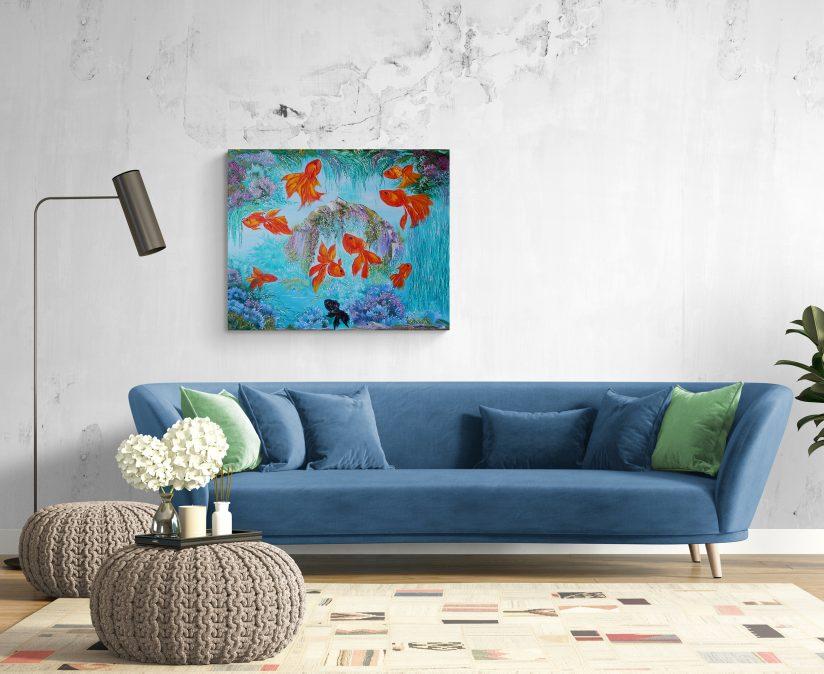 Постеры на стену для интерьера золотые рыбки картина фен шуй