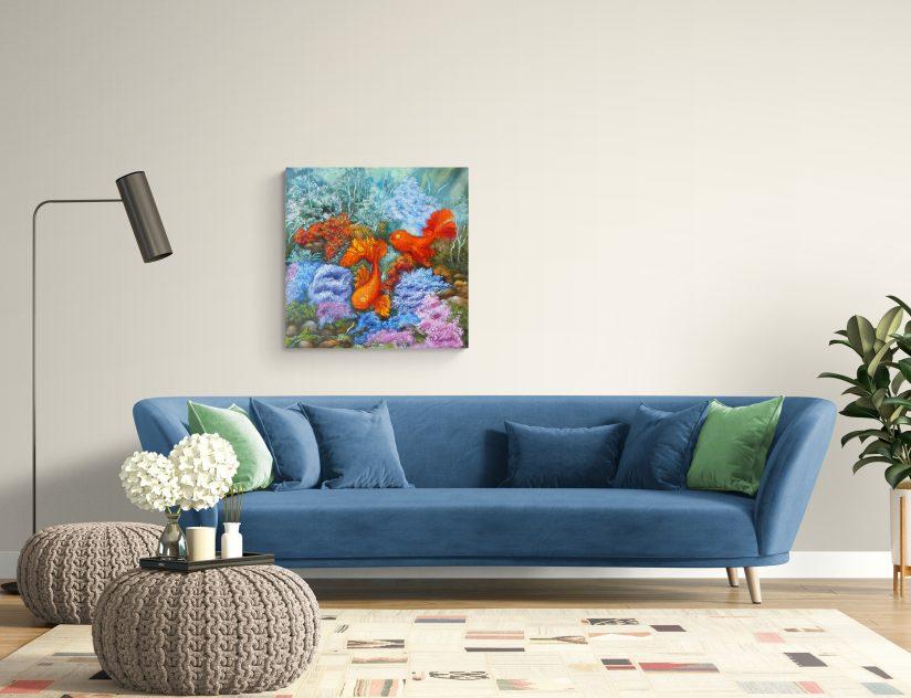 Принт картины 2 Золотые рыбки фен шуй в интерьере