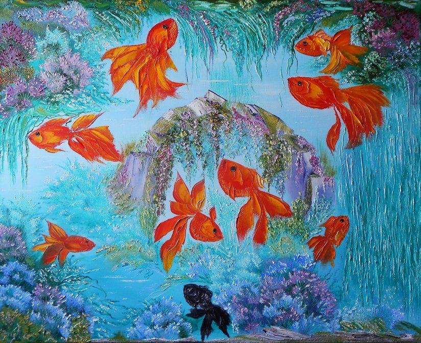 Рыбки принт постер картины с золотыми рыбками