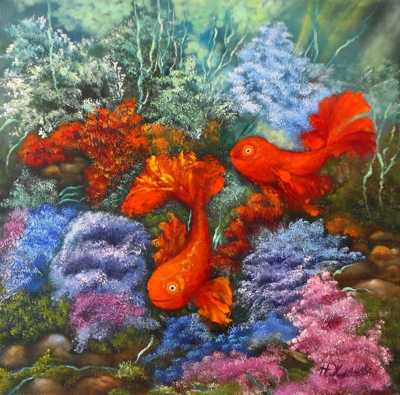 Принт картины 2 Золотые рыбки фен шуй символ любви и семейного счастья.