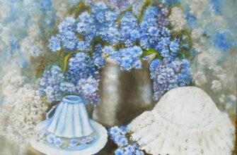 Цветочный натюрморт картина маслом полевые цветы Незабудки