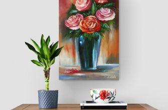 Картина цветы розы натюрморт букет цветов