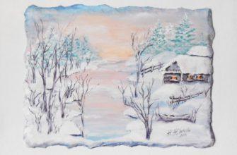 Пейзаж деревенский красивый зимний пейзаж живопись акрилом