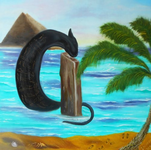 Abstract surreal animal art Egyptian cat