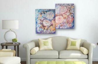 Модульная картина маслом цветы в интерьере