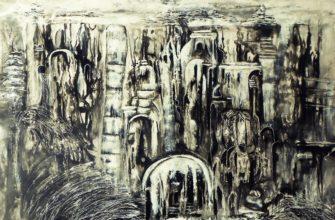 Город картина абстракция черно белая